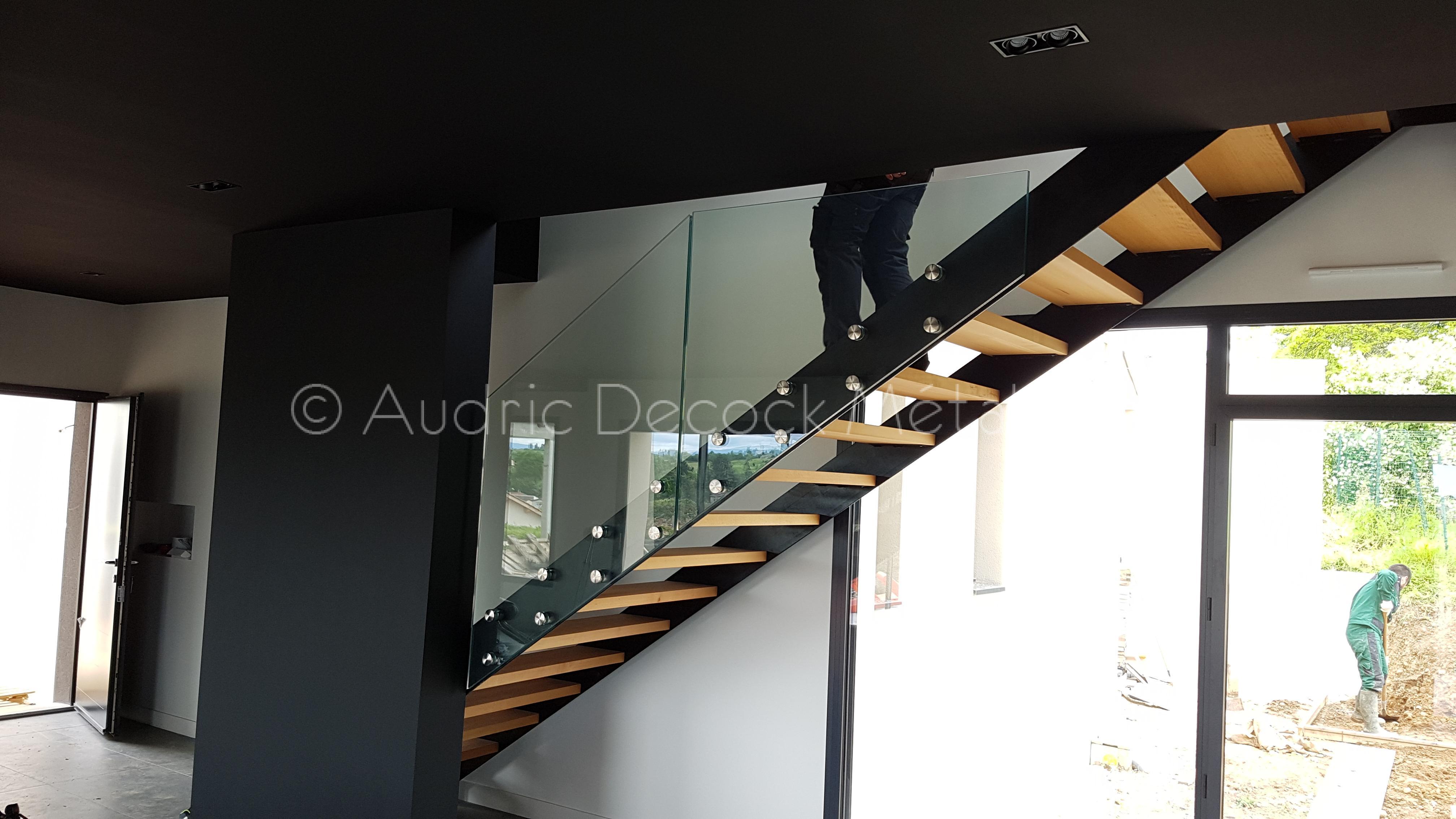 Escalier métal bois verre 1